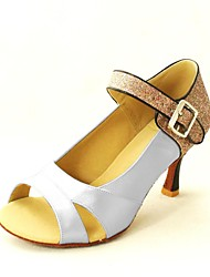 Customizable Women's Dance Shoes Latin Satin Customized Heel Black/Blue/Yellow/Pink/Purple/Red/White/Fuchsia