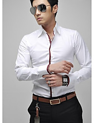 Men's Fine Grid Cloth Slim Long Sleeved Shirt