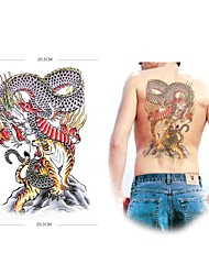 1 Pcs Waterproof  Super Color Dragon And Tiger Backing Pattern  Tattoo Stickers
