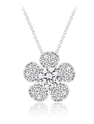 Fashionable Joker Zircon Brass Plated Platinum Flower Necklace(More Colors)