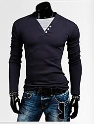 Herren T-shirt-Einfarbig Freizeit Baumwollmischung Lang-Blau / Weiß