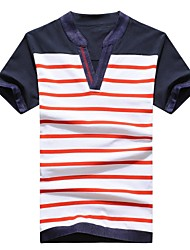 Men's V Neck Korean Style Stripes Short Sleeve T-Shirt