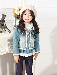Girl's Solid Jacket & Coat,Denim All Seasons Blue