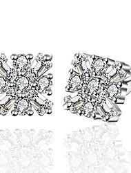 lureme®Fashion Style Silver Plated With Zircon Snowflake Shaped Stud Earrings
