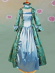 Long Sleeve Floor-length Light Green Cotton Gothic Lolita Dress