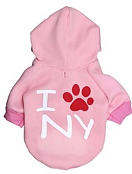 Cat / Dog Hoodie Pink Winter Letter & Number