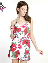 Women's Multi-color Jumpsuits , Vintage/Casual/Print Sleeveless
