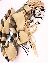 Women's The Color Of Camel's Hair Warm Cashmere Grid Scarf Of England