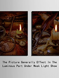E-HOME® Stretched LED Canvas Print Art The Candle Flash Effect LED Flashing Optical Fiber Print Set of 2
