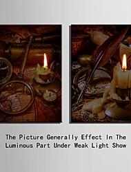 e-home® esticado levou arte impressão em tela o efeito do flash LED piscando vela conjunto de impressão de fibra óptica de 2