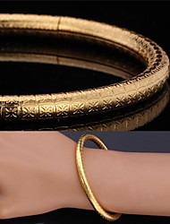 Fancy New Flower Stamp Bangle 18K Real Gold Platinum Plated Chunky Bracelet for Women High Quality