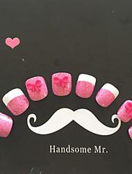24pcs lazo rosa y rosa uñas purpurina