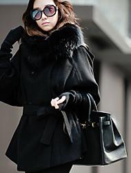 NYO Women's Long Sleeve Slim Fashion Fur Collar Tie Temperament Overcoat