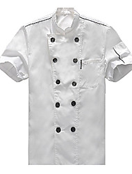 Stand Collar Double-breasted Short-sleeve White Chef Uniform with Black Button