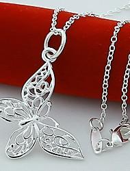 argenté de haute qualité pure élégant collier de papillon