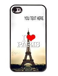 cas personnalisé I Love Paris cas tour eiffel design en métal pour iPhone 4 / 4S