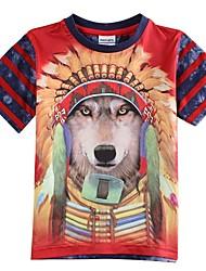 Children's T shirt Summer T shirt 3D Tiger Printing Baby T shirts Boys Tees(Random Print)