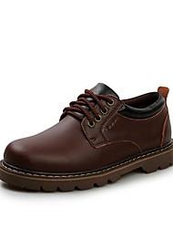 Sapatos Masculinos Oxfords Preto / Marrom Couro Casual