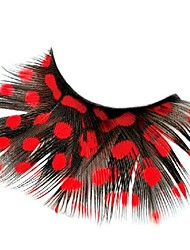 Gorgeous Red Polka Dots Feather Carnival Eyelashes