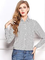 Women's White/Black Blouse , Shirt Collar Long Sleeve