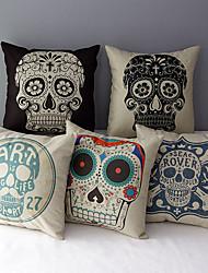 conjunto de 5 a capa de travesseiro decorativo crânios algodão / linho impressa