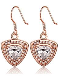 clássicos escudo-drop ouro rosa rosa brincos folheados a ouro (ouro rosa) (1pair)