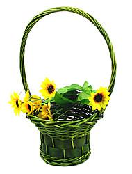Green & Pink Flower Basket Easter Basket