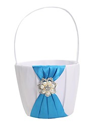 Elegant Wedding Flower Basket With Blue Satin & Pearls Flower Girl Basket