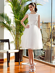 Ball Gown Wedding Dress - Ivory Knee-length Jewel Lace/Tulle