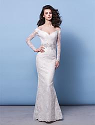 Lan Ting Trumpet/Mermaid Jewel Sweep/Brush Train Lace Wedding Dress (2463426)