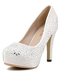 Women's Shoes Round Toe Stiletto Heel Pumps with Crystal Wedding Shoes