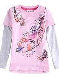 Футболка девочка цветочный рубашку лист девушки вышитые розовые рубашки Дети тройники
