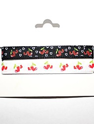 3/8 Inch Love Cherry pattern Rib Ribbon Printing Ribbon- 1 Yards Per Roll (Two Color One Card)