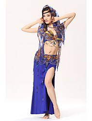 Belly Dance Outfits Women's Performance Cotton / Sequined / Feathers Buttons / Paillettes / Sequins As Picture Belly Dance / Performance