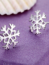 Women's Stud Earrings Sterling Silver Snowflake Jewelry For