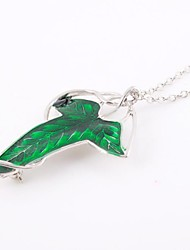 Fashion Leaf Shape Green Alloy Movie Pendant Necklace(1 Pc)