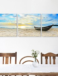 E-HOME® Stretched Canvas Art The Ship Docked At The Shore Decoration Painting Set of 3