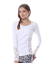 Yokaland Slim Fit Lace Stitching Long Sleeves Yoga Top