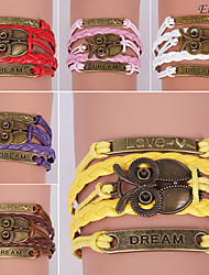 pulseras eruner®leather aleación de múltiples capas encantos época búho pulsera hecha a mano