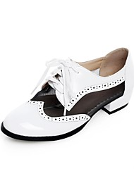 Women's Spring Summer Fall Leatherette Casual Low Heel Black White