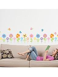decalques de parede adesivos de parede, estilo de sete cores de parede flor cerca pvc etiquetas