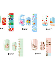 14pcs belle no.14-19 style cartoon Stricker nail art de la série D (modèle assortis)