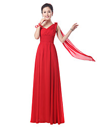 Floor-length Chiffon Bridesmaid Dress - Ruby Sheath/Column Sweetheart