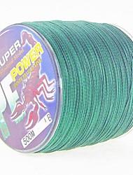 500M / 550 Yards Ligne tissée PE / Dyneema Ligne de Pêche Vert foncé 100LB 0.50mm mm PourPêche en mer / Pêche à la mouche / Pêche d'appât
