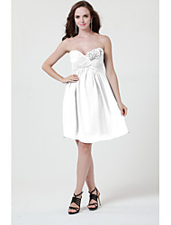 Short / Mini Chiffon Bridesmaid Dress - Sheath / Column Strapless / Sweetheart with Flower(s) / Criss Cross