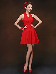 Short/Mini Bridesmaid Dress Sheath/Column Halter