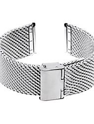 24 millimetri cinturino bracciale unisex in acciaio di spessore maglia cinturino ripiegare su argento fibbia