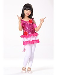 Kid's Latin Dance Stage Performance Flower Decorated Sequin Dress (More Colors) Kids Dance Costumes