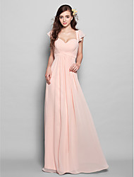 Lanting Floor-length Chiffon Bridesmaid Dress - Pearl Pink Plus Sizes / Petite A-line Sweetheart