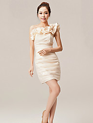 Homecoming Cocktail Party Dress - Ruby/Champagne A-line One Shoulder Ankle-length Nylon Taffeta